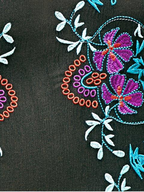 sale Embroidered Strap Dress - BLACK M Mobile