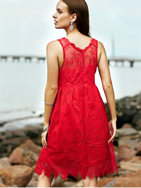 buy Full Lace Round Neck Sleeveless Flare Dress - RED M Mobile