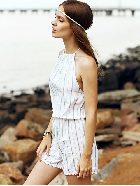 latest Fitting Striped Halter Sleeveless Playsuit - WHITE S Mobile