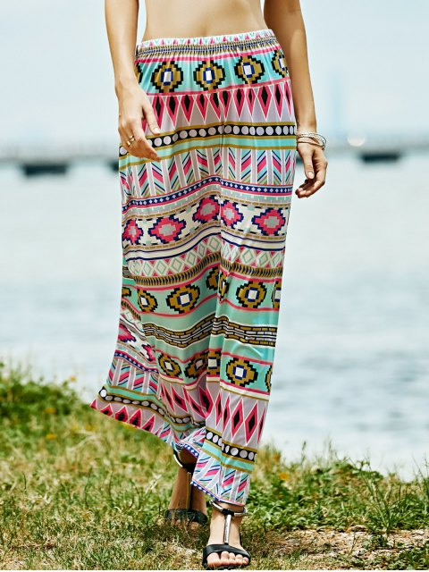 hot Geometric Print High Waist A-Line Skirt - ROSE L Mobile