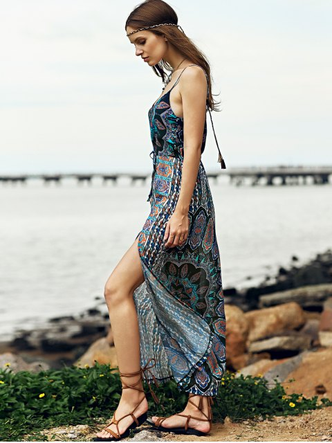 lady High Slit Printed Beach Maxi Dress - PURPLISH BLUE M Mobile