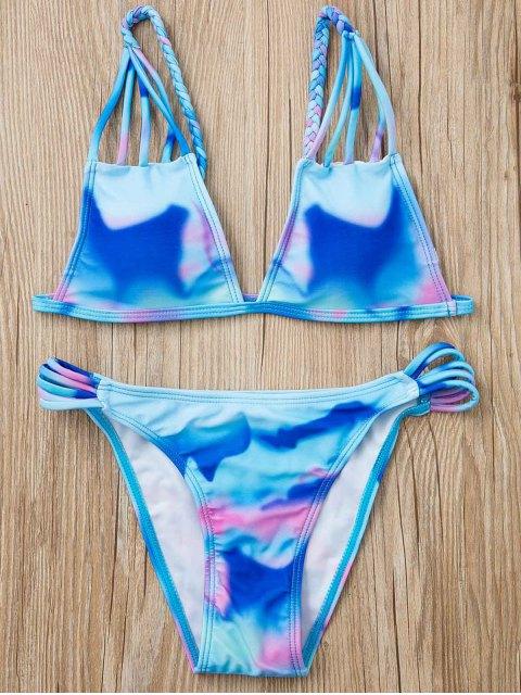 shop Spaghetti Strap Tie Dye Bikini - PURPLE S Mobile