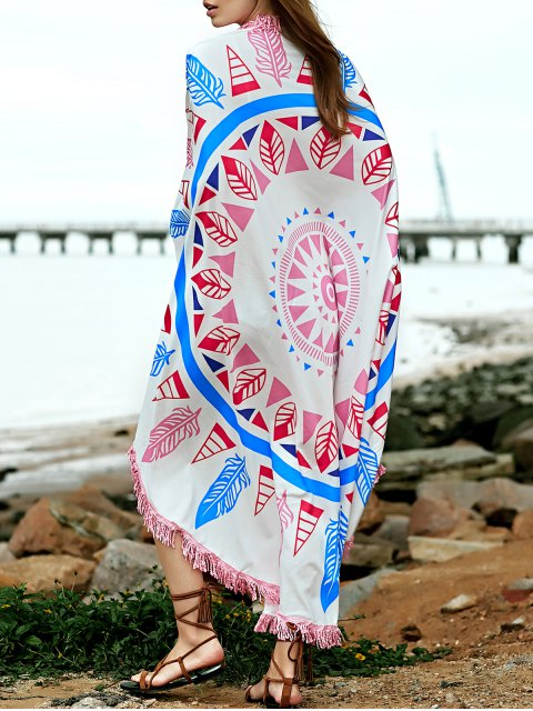 affordable Feather Print Convertible Round Shape Cape Cover Up - COLORMIX ONE SIZE(FIT SIZE XS TO M) Mobile
