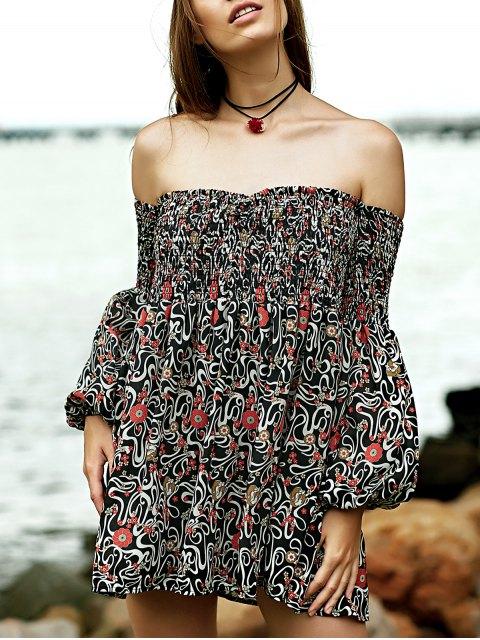 hot Smocked Floral Print Off The Shoulder Dress - BROWN L Mobile