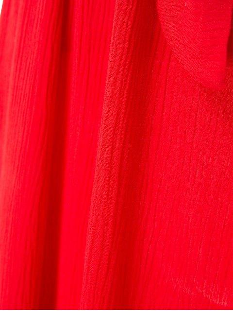 women's Solid Color Elastic Waist Belt Short Sleeve Dress - RED M Mobile