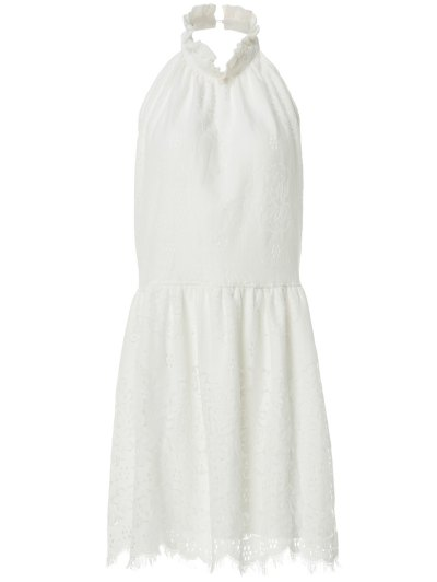 Halter Neck Solid Color Backless Lace Dress - White