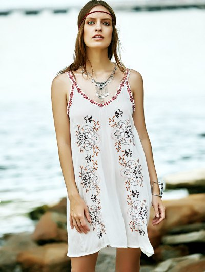 Embroidered Strap Dress - WHITE M Mobile