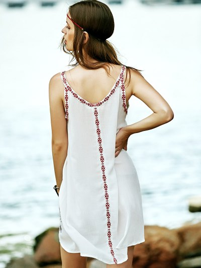 Embroidered Strap Dress - WHITE S Mobile