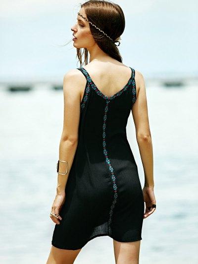 Embroidered Strap Dress - BLACK M Mobile