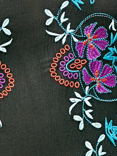 Embroidered Strap Dress - BLACK S Mobile