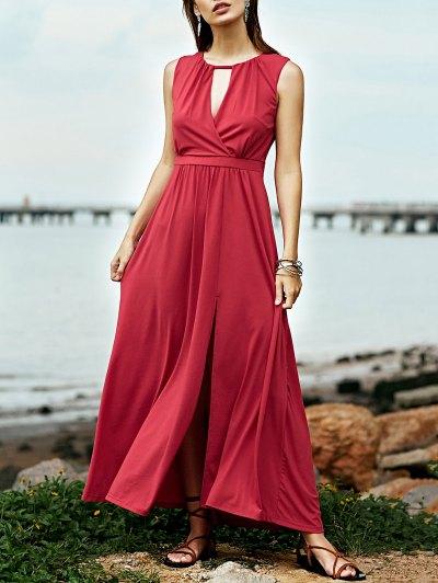 Keyhole Neckline Sleeveless Red Maxi Dress