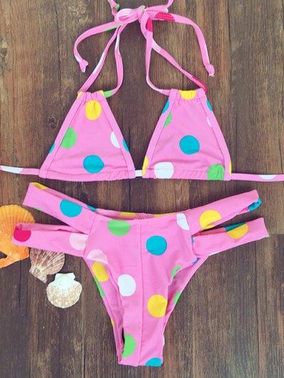 Polka Dot Halter Bandage Bikini Set - Pink