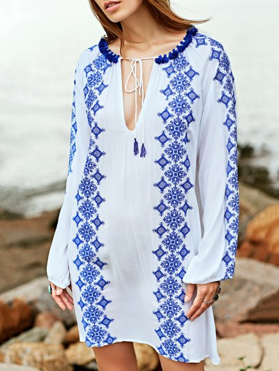 Embroidery Round Neck Long Sleeve Dress - White
