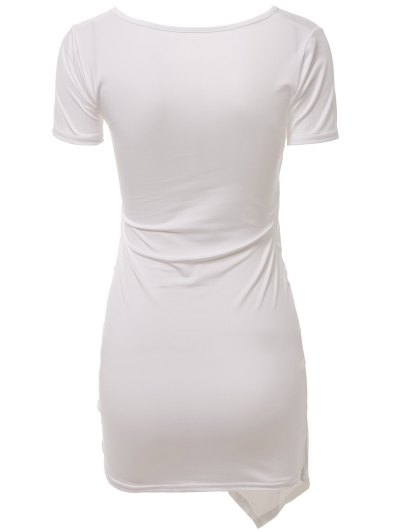 Plunging Collar Solid Color Bodycon Dress - WHITE L Mobile