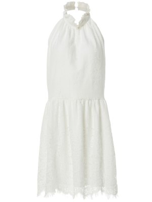 Halter Neck Solid Color Backless Lace Dress - White