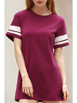 Stripe Jewel Neck Short Sleeve Dress - Wine Red