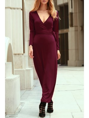 Self Tie Plunging Neck Long Sleeve Maxi Dress - Wine Red