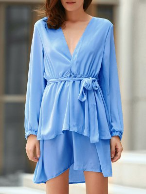 Plunging Neck Flirty Ruffle Chiffon Dress - Light Blue