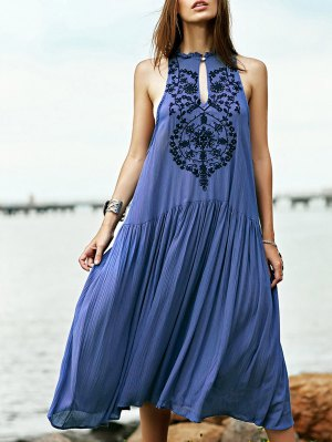 Embroidered Beaded Bohemian Dress - Blue