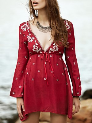 Low Cut Embroidered Tunic Dress - Wine Red