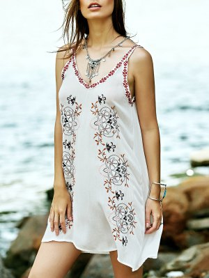 Embroidered Strap Dress - White