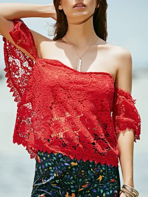 Off Shoulder Red Lace Top - Red