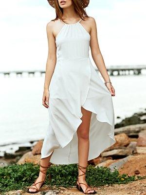 Fitting White Asymmetric Cami Sleeveless Dress - White