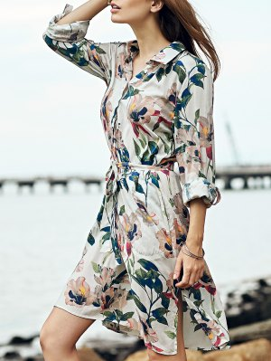 Sweet Floral Print Turn-Down Collar 3/4 Sleeve Shirt