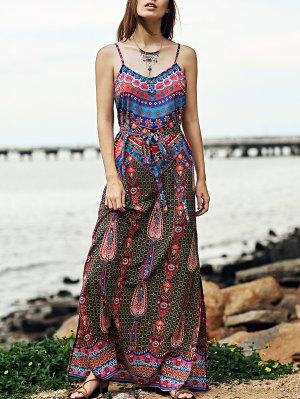 Vintage Print Cami Side Slit Maxi Dress