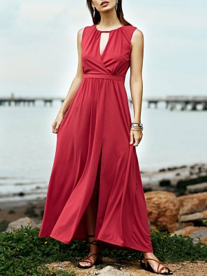 Red Keyhole Neckline Sleeveless Maxi Dress - Cerise