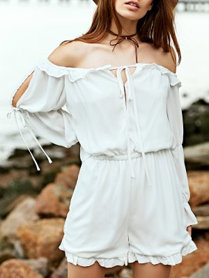 Off The Shoulder White Long Sleeve Chiffon Romper - White