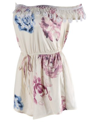 Drawstring Floral Print Romper - Off-white