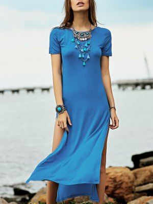 High Slit Round Neck Short Sleeve Maxi Dress - Lake Blue