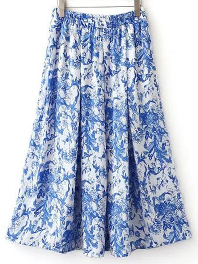 High Waisted Print Pockets Midi Skirt