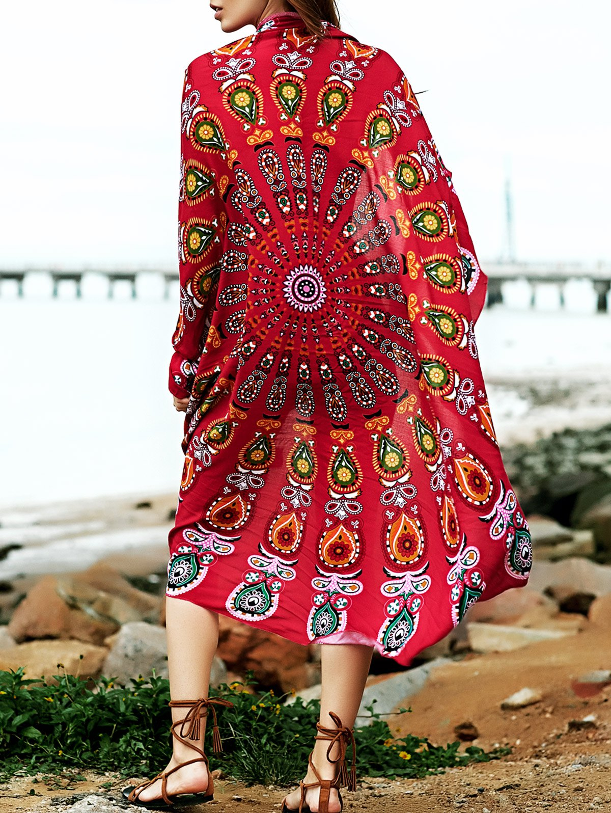 Round Shape Print Convertible Cape Cover Up