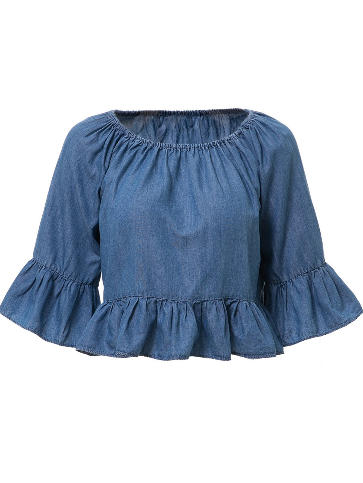 Slash Neck Bleach Wash Founce 3/4 Sleeve T-Shirt