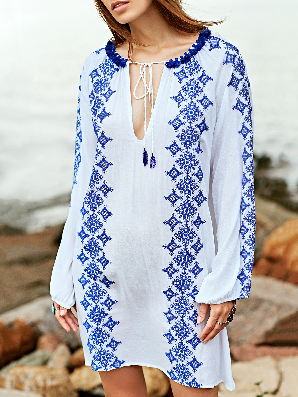 Round Neck Long Sleeve Embroidery Dress