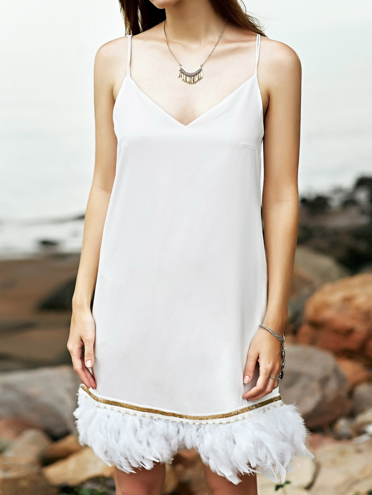 Cami White Fringe Dress