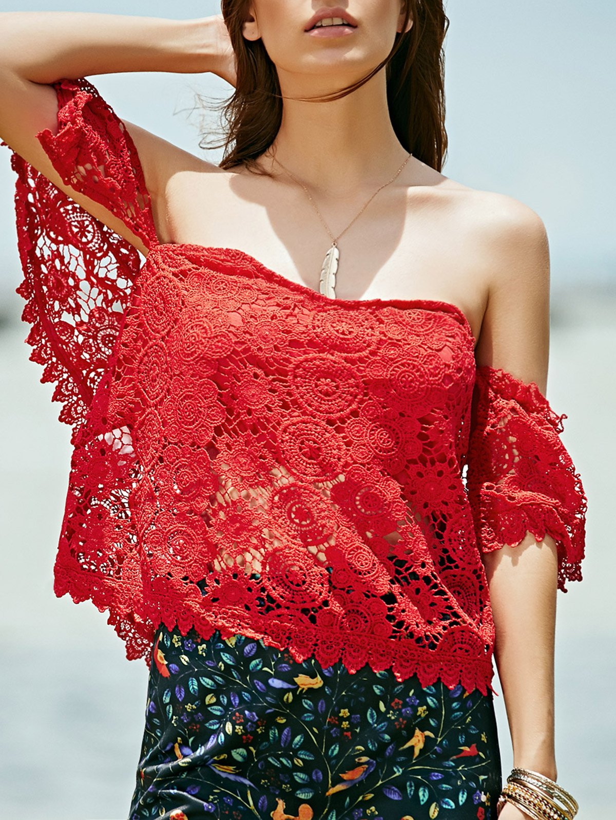 Buy Off Shoulder Red Lace Top RED L