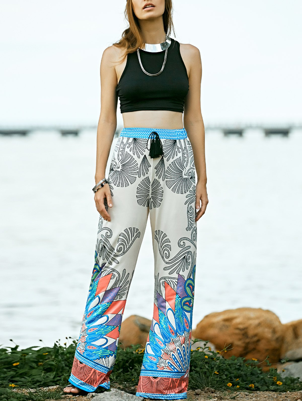 Black Round Neck Tank Top and Printed High Waist Pants