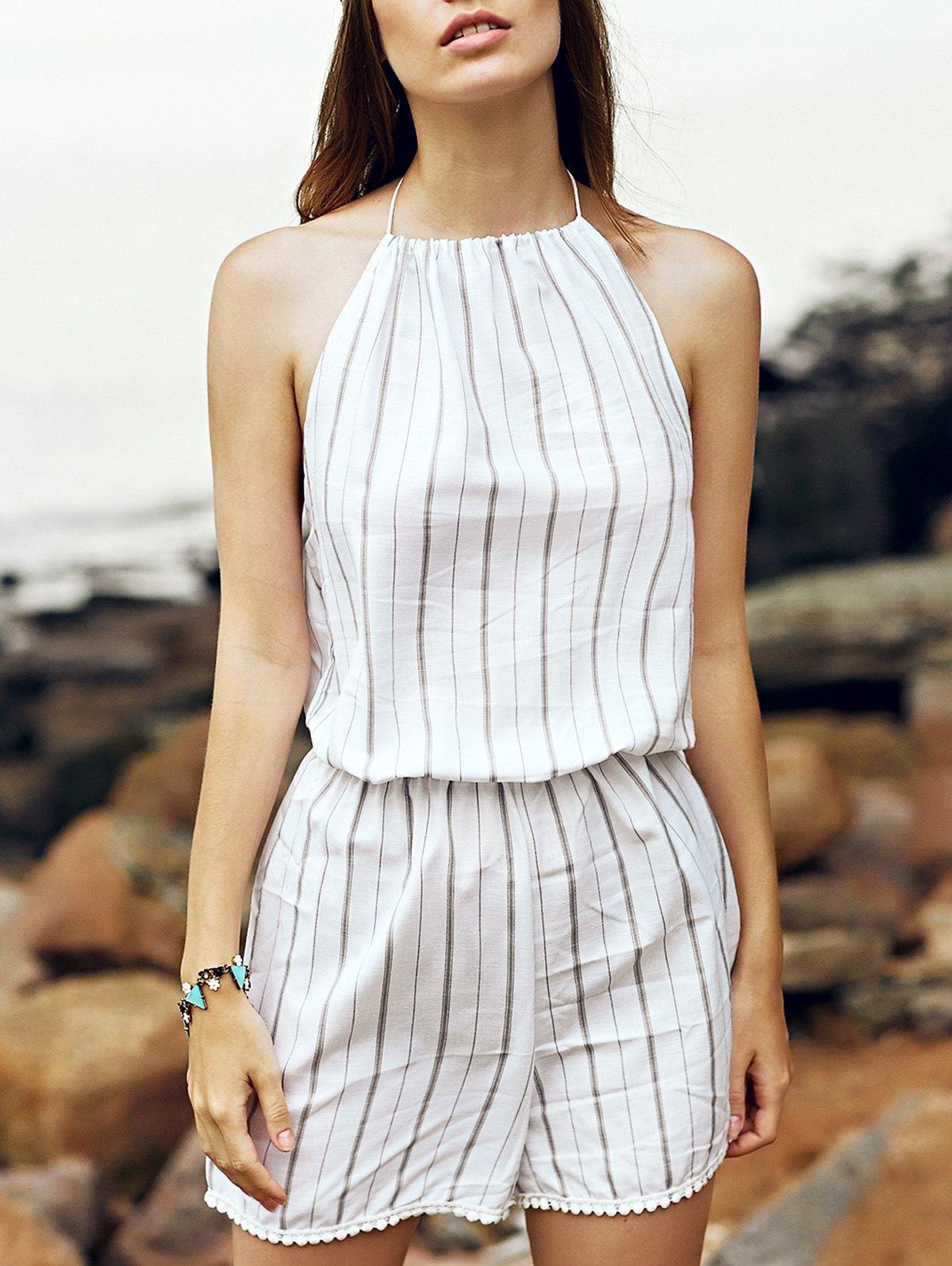 Halter Sleeveless Fitting Striped Playsuit