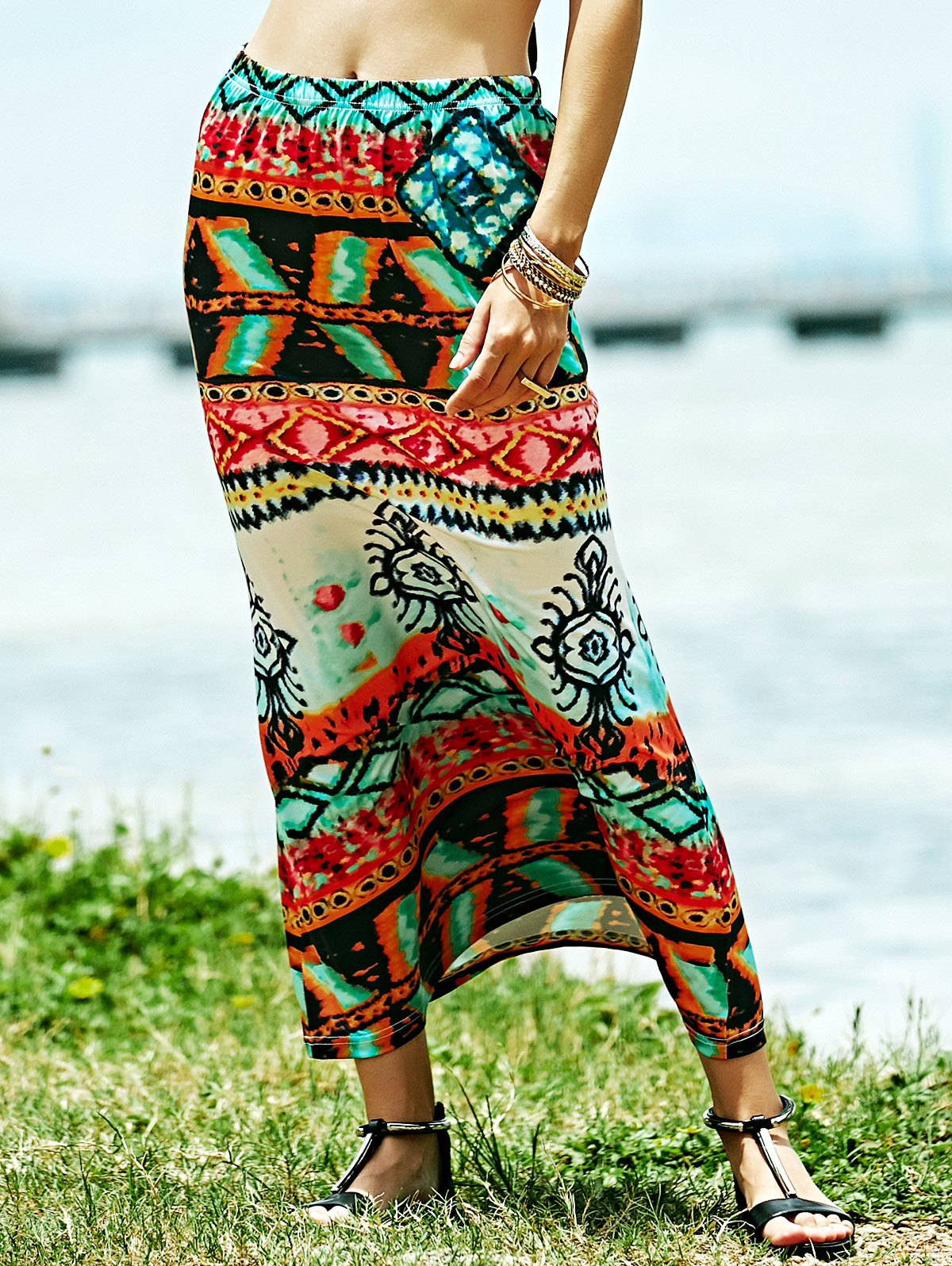 Fitted Ethnic Print High Waist SkirtClothes<br><br><br>Size: S<br>Color: COLORMIX