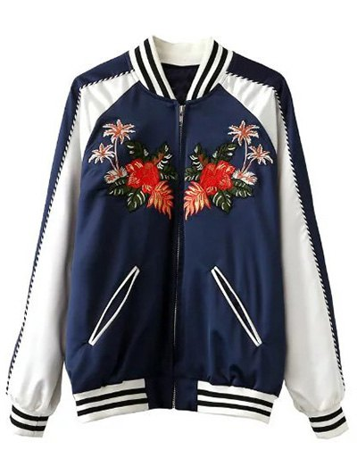 Floral Embroidered Baseball Jacket BLUE AND WHITE Jackets