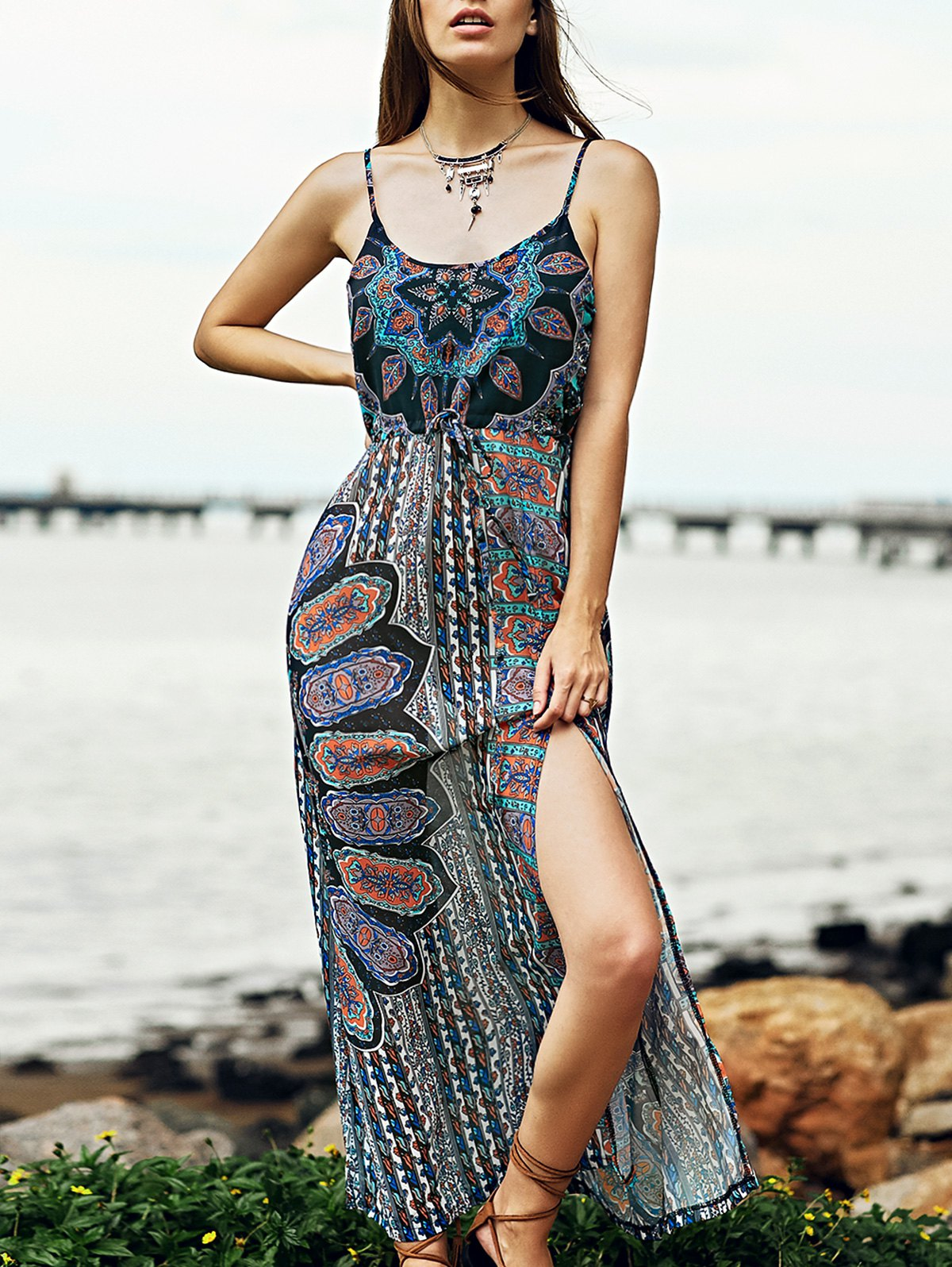 Spaghetti Straps Sleeveless High Slit Printed Dress