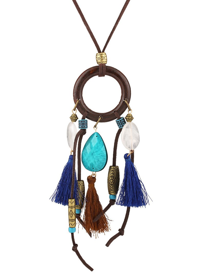 Tassel Tear Drop Pendant Necklace
