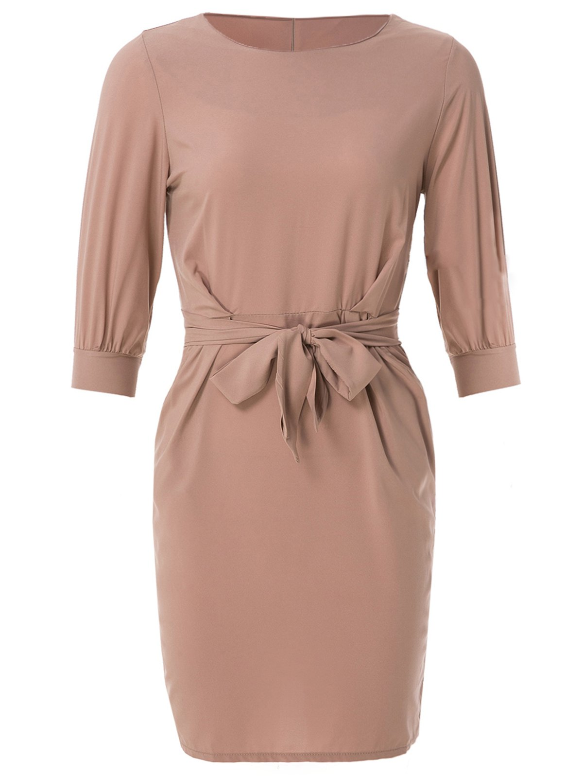 Boat Neck Half Sleeve Solid Color Midi Dress
