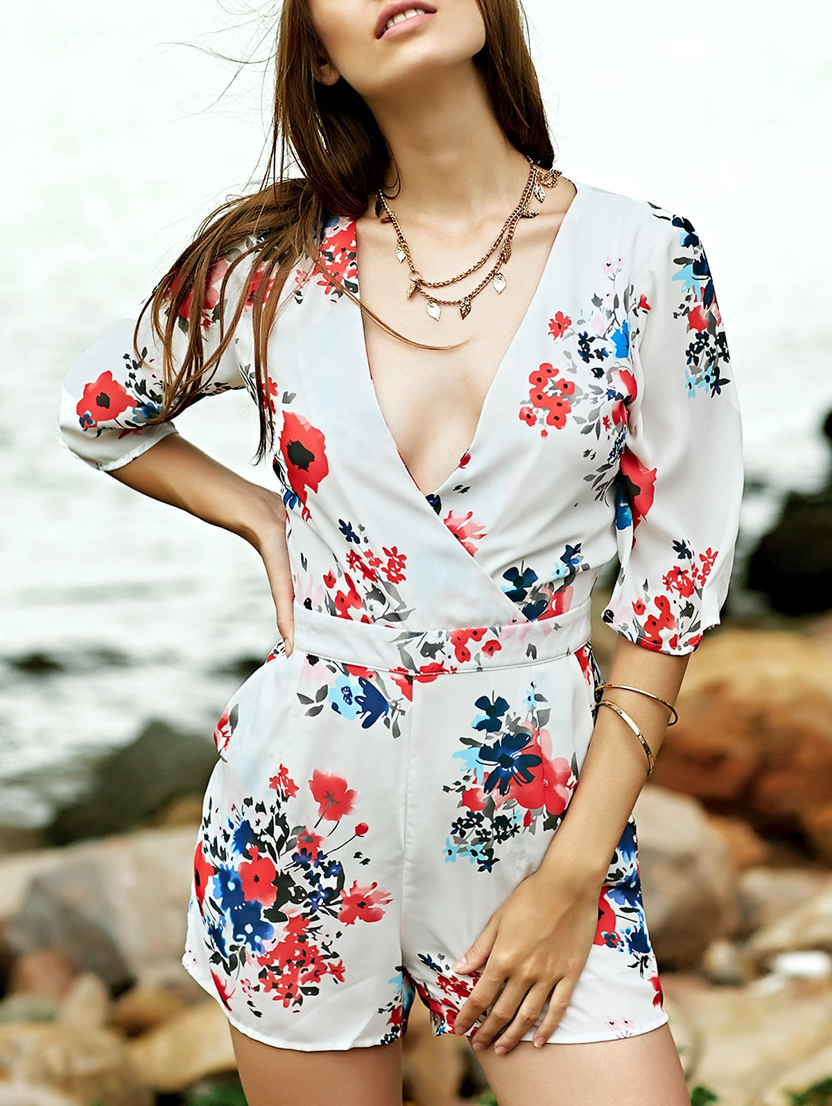 Plunging Neck Half Sleeve Sweet Flower Print Romper