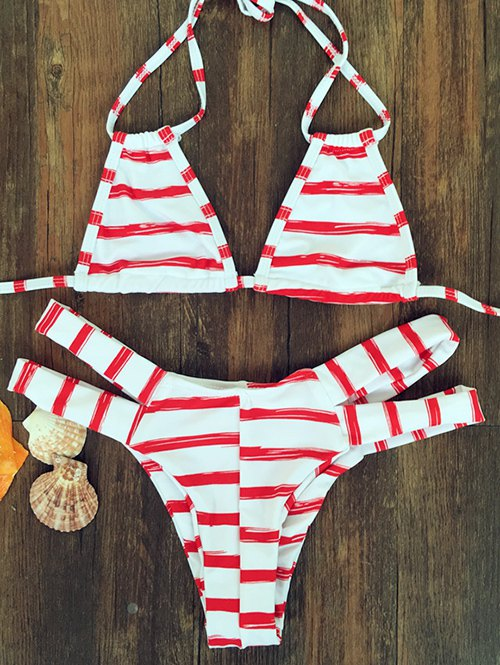 Halter Striped Bandage Bikini Set
