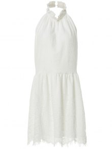 Halter Neck Solid Color Backless Lace Dress - White S