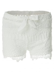 Solid Color Lace Tie-Up Shorts